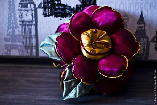 Текстиль, ковры ручной работы. Ярмарка Мастеров - ручная работа. Купить Подушка-роза. Handmade. Разноцветный, роза из ткани, интерьер