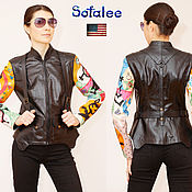 Одежда handmade. Livemaster - original item Women`s leather jacket with shoulder straps, embroidery on the sleeves.. Handmade.
