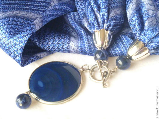"""Колье, бусы ручной работы. Ярмарка Мастеров - ручная работа. Купить Колье """"Шелковый джинс"""". Handmade. Синий, текстильное колье"""