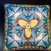 """Для дома и интерьера ручной работы. Ярмарка Мастеров - ручная работа Подушка диванная """"Рыбы 2"""" вышитая в технике четный крест. Handmade."""