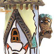 Для дома и интерьера ручной работы. Ярмарка Мастеров - ручная работа Керамический домик подсвечник с совой. Handmade.