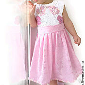Работы для детей, handmade. Livemaster - original item cotton dress for girls butterflies - flowers. Handmade.