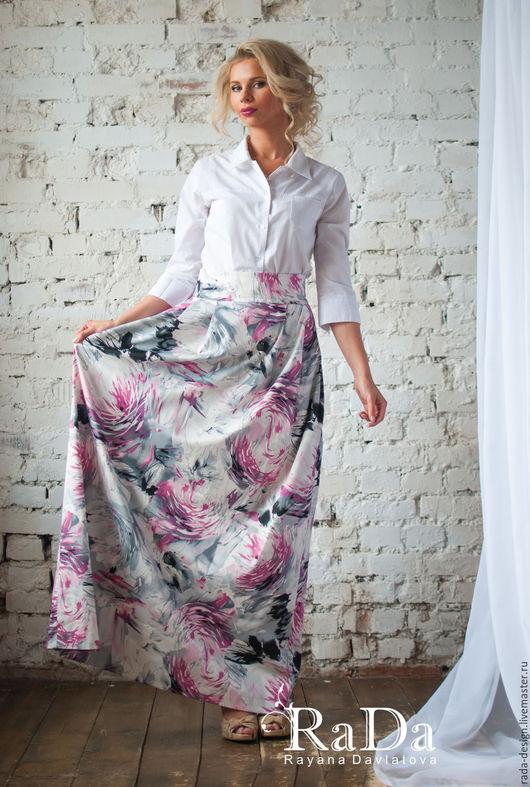 """Юбки ручной работы. Ярмарка Мастеров - ручная работа. Купить Юбка длинная в пол """"Розовое облако"""". Handmade. Комбинированный, платье"""