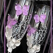 "Свадебный салон ручной работы. Ярмарка Мастеров - ручная работа Бокалы ""Pink butterfly"". Handmade."