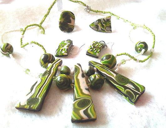 """Комплекты украшений ручной работы. Ярмарка Мастеров - ручная работа. Купить комплект """"зеленый вздор"""". Handmade."""
