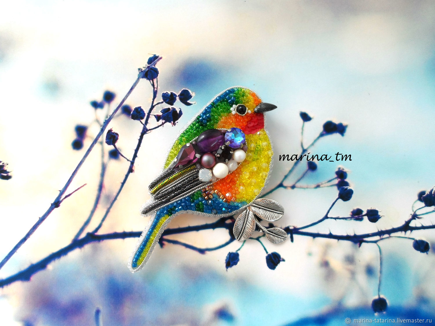 'Watercolor bird ' brooch, Brooches, Eniseisk,  Фото №1