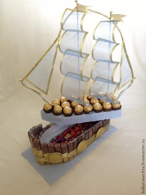 Кулинарные сувениры ручной работы. Ярмарка Мастеров - ручная работа. Купить Корабль из конфет №2. Handmade. Корабль, голубой