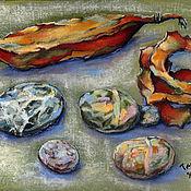 Картины и панно handmade. Livemaster - original item Paintings: still life pastel watercolor stones PODS AND STONES. Handmade.