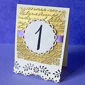 Свадебный салон ручной работы. Ярмарка Мастеров - ручная работа Номерки для столов в золотисиой гамме. Handmade.