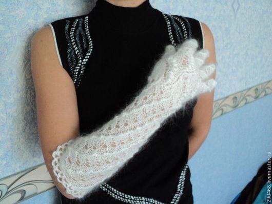 Варежки, митенки, перчатки ручной работы. Ярмарка Мастеров - ручная работа. Купить Длинные ажурные перчатки Леди. Handmade. Белый