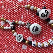 """Работы для детей, ручной работы. Ярмарка Мастеров - ручная работа Именной  держатель для соски """"панда"""". Handmade."""