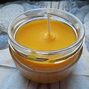 Косметика ручной работы handmade. Livemaster - original item Massage candles with sea buckthorn and orange 100 ml. Handmade.