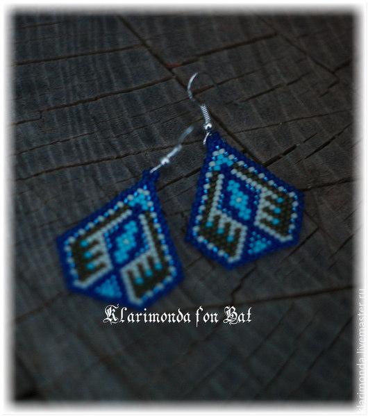 """Серьги ручной работы. Ярмарка Мастеров - ручная работа. Купить Серьги """"El Paso"""". Handmade. Синий цвет, бежевый цвет"""
