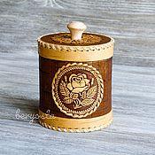 """Русский стиль handmade. Livemaster - original item Туесок из бересты """"Роза"""". Банка для хранения мелочей.. Handmade."""