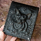 Сумки и аксессуары handmade. Livemaster - original item Leather purse - Steampunk cat . Mens wallet. Handmade.