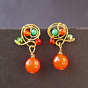 Украшения handmade. Livemaster - original item mini-earrings, a necklace Enchanted Jul. Handmade.
