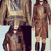 Мужская одежда handmade. Livemaster - original item Men`s outerwear: Brown leather men`s raincoat Ohotnik. Handmade.