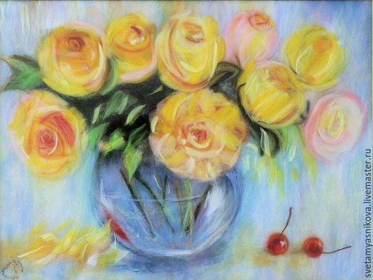 Картины цветов ручной работы. Ярмарка Мастеров - ручная работа. Купить Розы цвета солнца.Картина из шерсти. Handmade. Желтый