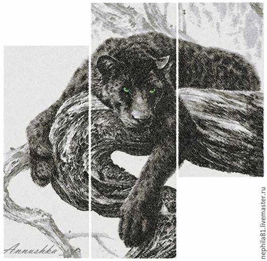 """Животные ручной работы. Ярмарка Мастеров - ручная работа. Купить Модульная картина, триптих """"пантера"""".. Handmade. Черный, вышитая пантера"""
