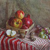 Картины и панно ручной работы. Ярмарка Мастеров - ручная работа Натюрморт с корзиной фруктов. Handmade.