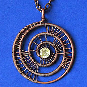 """Украшения ручной работы. Ярмарка Мастеров - ручная работа Кулон """"Солнечная Спираль"""" - медь, цирконий. Handmade."""