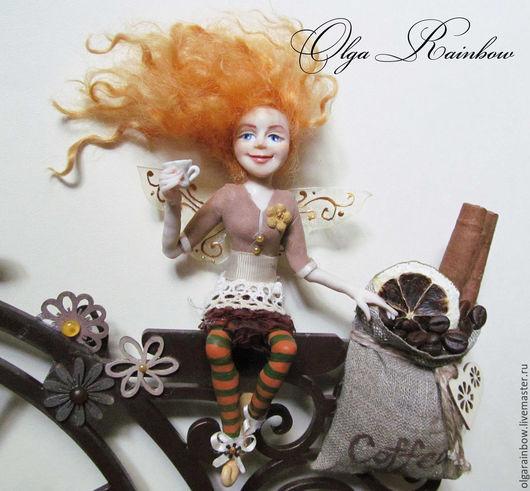 """Часы для дома ручной работы. Ярмарка Мастеров - ручная работа. Купить Часы настенные """"Кофейная фея на велосипеде"""". Handmade. Коричневый"""