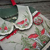 handmade. Livemaster - original item Bag collar and brooch Fly Agarics Hand painted. Handmade.