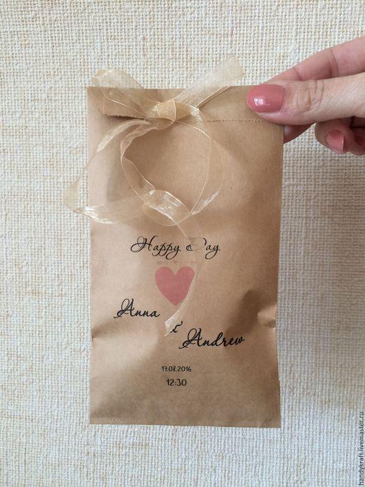Упаковка ручной работы. Ярмарка Мастеров - ручная работа. Купить Свадебный крафт-пакет 10х19,5 см. Handmade.