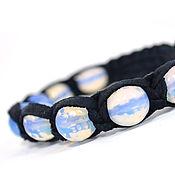 Украшения ручной работы. Ярмарка Мастеров - ручная работа Кожаный браслет шамбала с лунным камнем. Handmade.