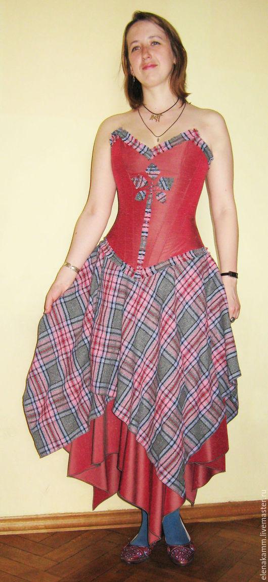 Платья ручной работы. Ярмарка Мастеров - ручная работа. Купить Костюм-трансформер. Корсет и 2 юбки. Handmade. В клеточку