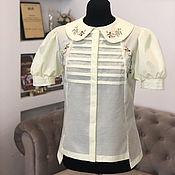 Одежда handmade. Livemaster - original item Yellow cotton blouse with hand embroidery