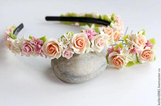 Диадемы, обручи ручной работы. Ярмарка Мастеров - ручная работа. Купить Ободки с цветами из полимерной глины. Handmade. Комбинированный, браслет