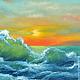 """Пейзаж ручной работы. Заказать Картина маслом """"Оранжевый закат"""". Красивые картины. Ольга.. Ярмарка Мастеров. Картина с морем"""