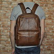 Рюкзаки ручной работы. Ярмарка Мастеров - ручная работа Рюкзак мужской кожаный коричневый. Handmade.
