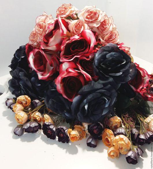 Искусственные растения ручной работы. Ярмарка Мастеров - ручная работа. Купить Черная роза ...Набор из искусственных цветов.. Handmade. Комбинированный