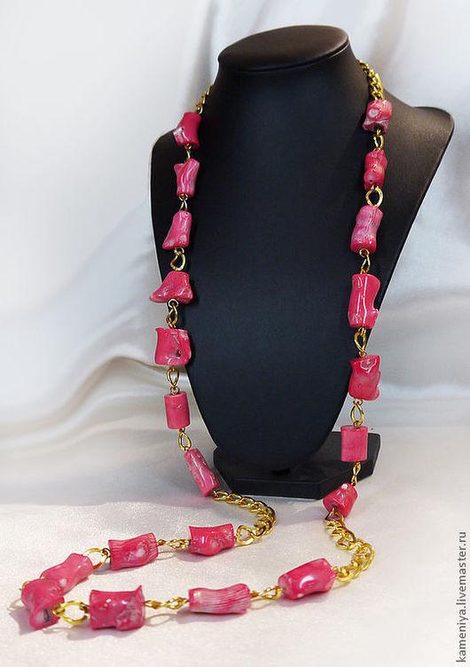 Колье, бусы ручной работы. Ярмарка Мастеров - ручная работа. Купить Длинные бусы из розового коралла. Handmade. Розовый