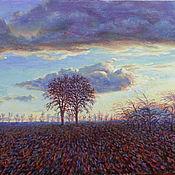 """Картины и панно ручной работы. Ярмарка Мастеров - ручная работа Картина маслом """"За пять минут до зимы. Part II"""" пейзаж, закат. 30 х 45. Handmade."""