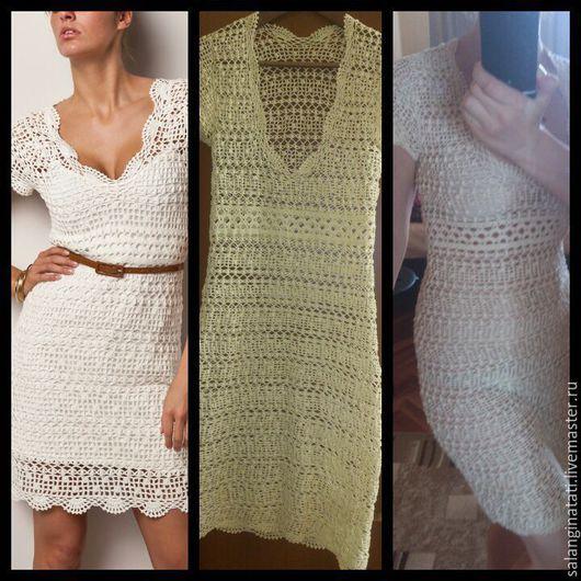 Платья ручной работы. Ярмарка Мастеров - ручная работа. Купить Вязаное платье крючком, платье крючком, белое платье крючком. Handmade.