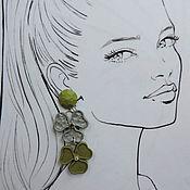 handmade. Livemaster - original item Clover Stud Earrings made of polymer clay. Handmade.