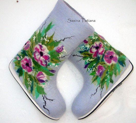 """Обувь ручной работы. Ярмарка Мастеров - ручная работа. Купить Валенки """"Летний сад"""". Handmade. Шерсть"""