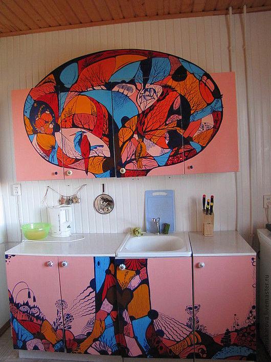 Декор поверхностей ручной работы. Ярмарка Мастеров - ручная работа. Купить Переделка дачной кухни. Handmade. Рыжий, мдф