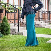 Одежда ручной работы. Ярмарка Мастеров - ручная работа V_010 Юбка-годе-лайт длинная со шнуровкой сзади, цвет изумруд-черный. Handmade.