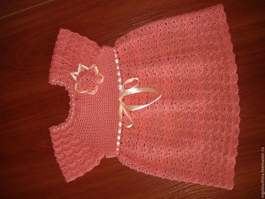 Платья ручной работы. Ярмарка Мастеров - ручная работа. Купить Платье детское. Handmade. Коралловый, платье для девочки, платье вязаное