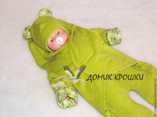 """Одежда ручной работы. Ярмарка Мастеров - ручная работа. Купить Комбинезон-конверт для новорожденного """"Best Friends"""" фисташковый. Handmade. Оливковый"""