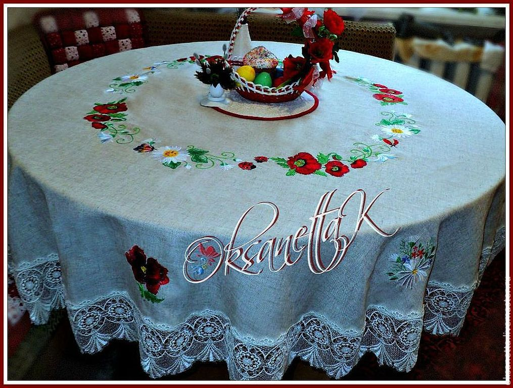 Tablecloth 'Poppies-daisies', Tablecloths, Zaporozhye,  Фото №1