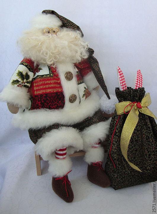 Куклы Тильды ручной работы. Ярмарка Мастеров - ручная работа. Купить Санта -Клаус с зайкой. Handmade. Куклы и игрушки, флис