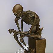 Винтаж ручной работы. Ярмарка Мастеров - ручная работа Мыслитель скелет череп бронза мрамор Франция 1. Handmade.