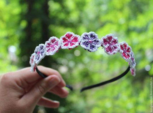 Детская бижутерия ручной работы. Ярмарка Мастеров - ручная работа. Купить Ободок для девочки Цветочный (розово-сиреневый). Handmade. Разноцветный