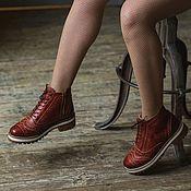 Обувь ручной работы handmade. Livemaster - original item Boots moccasin leather with uneven edge Brick. Handmade.