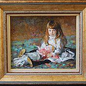 """Картины и панно ручной работы. Ярмарка Мастеров - ручная работа Картина """" Девочка с куклой """".. Handmade."""